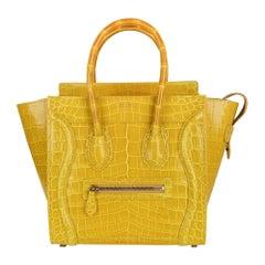 Celine Bag Micro Luggage Yellow Crocodile Tote New w/Box