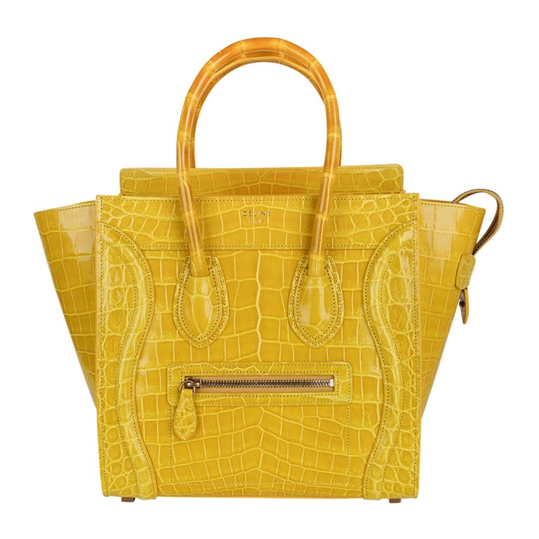 Celine Bag Micro Luggage Yellow Crocodile Tote New w/Box For Sale
