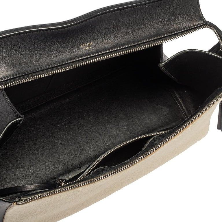 Céline Beige/Black Calfhair and Leather Small Edge Bag For Sale 6