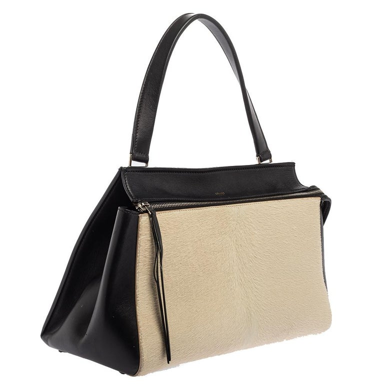 Céline Beige/Black Calfhair and Leather Small Edge Bag In Good Condition For Sale In Dubai, Al Qouz 2