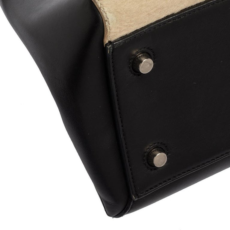 Céline Beige/Black Calfhair and Leather Small Edge Bag For Sale 2