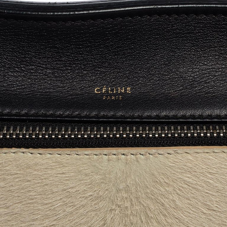 Céline Beige/Black Calfhair and Leather Small Edge Bag For Sale 4