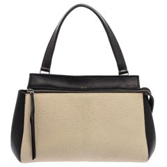 Céline Beige/Black Calfhair and Leather Small Edge Bag