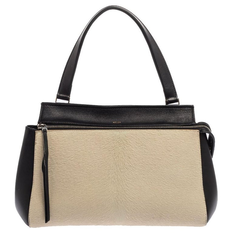 Céline Beige/Black Calfhair and Leather Small Edge Bag For Sale