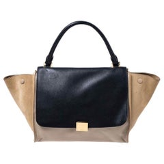 Celine Beige/Black Leather and Suede Medium Trapeze Bag