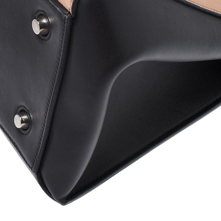 Celine Beige/Black Leather Medium Edge Bag For Sale 6