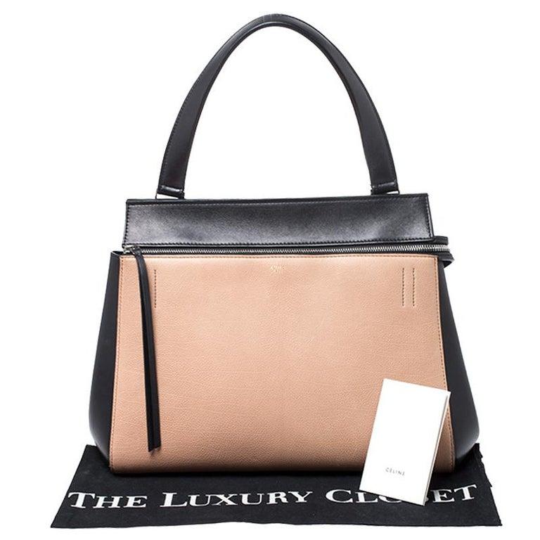 Celine Beige/Black Leather Medium Edge Bag For Sale 7