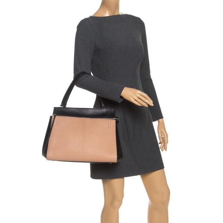 Celine Beige/Black Leather Medium Edge Bag In Good Condition For Sale In Dubai, Al Qouz 2