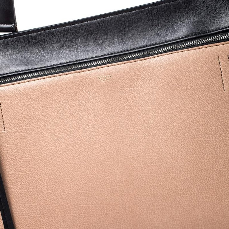 Celine Beige/Black Leather Medium Edge Bag For Sale 4