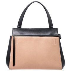 Celine Beige/Black Leather Medium Edge Bag