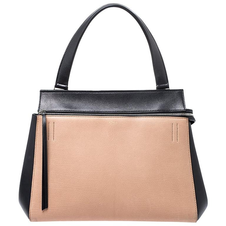 Celine Beige/Black Leather Medium Edge Bag For Sale