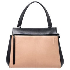 Celine Beige/Black Leather Medium Edge Bag