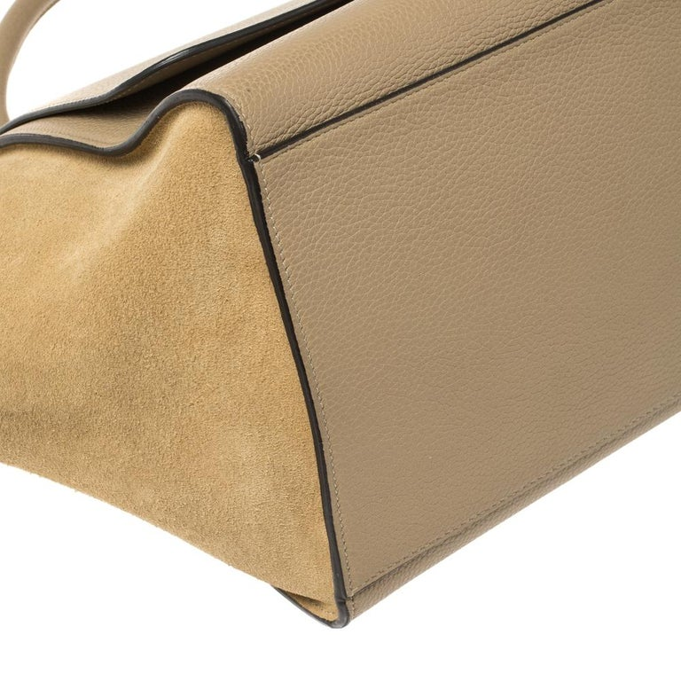 Celine Beige Leather and Suede Medium Trapeze Bag For Sale 7