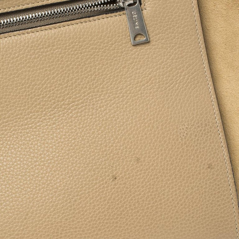 Celine Beige Leather and Suede Medium Trapeze Bag For Sale 8