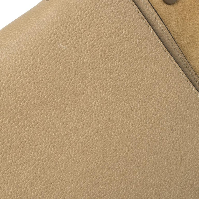 Celine Beige Leather and Suede Medium Trapeze Bag For Sale 9