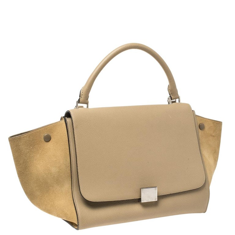 Women's Celine Beige Leather and Suede Medium Trapeze Bag For Sale