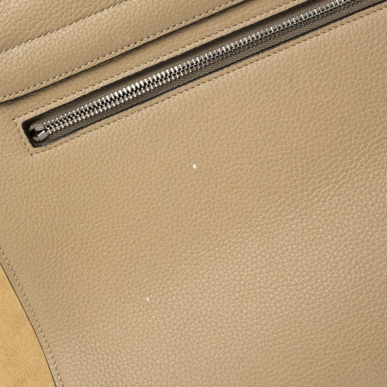 Celine Beige Leather and Suede Medium Trapeze Bag For Sale 5