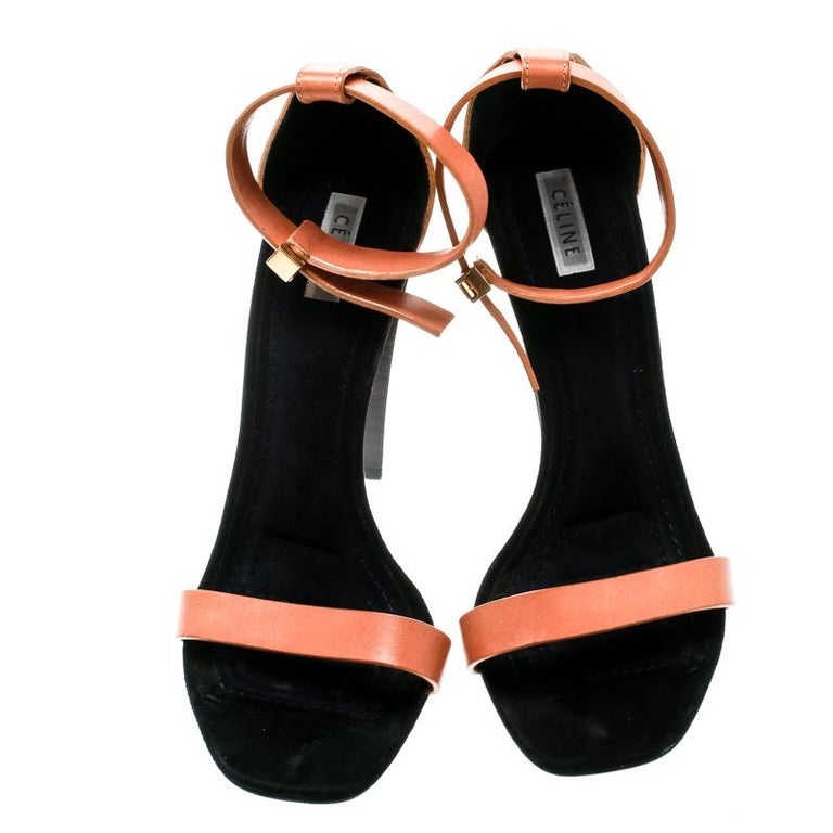 Black Celine Beige Leather Ankle Strap Sandals Size 38 For Sale
