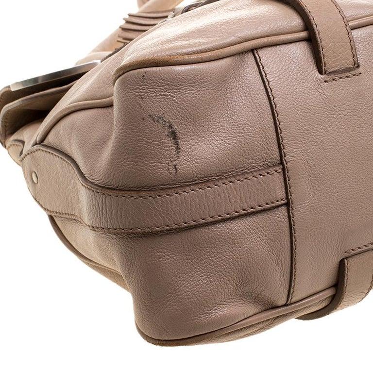 Celine Beige Leather Boston Bag For Sale 6