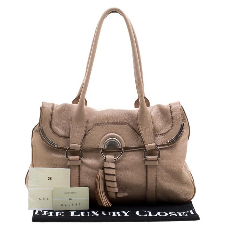 Celine Beige Leather Boston Bag For Sale 7