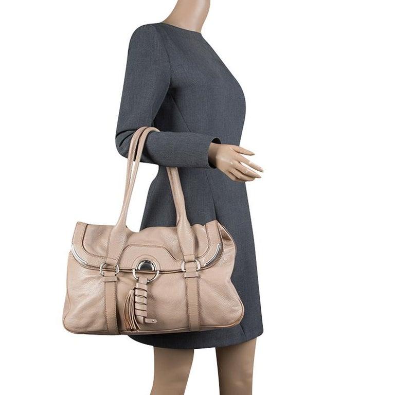Celine Beige Leather Boston Bag In Good Condition For Sale In Dubai, Al Qouz 2