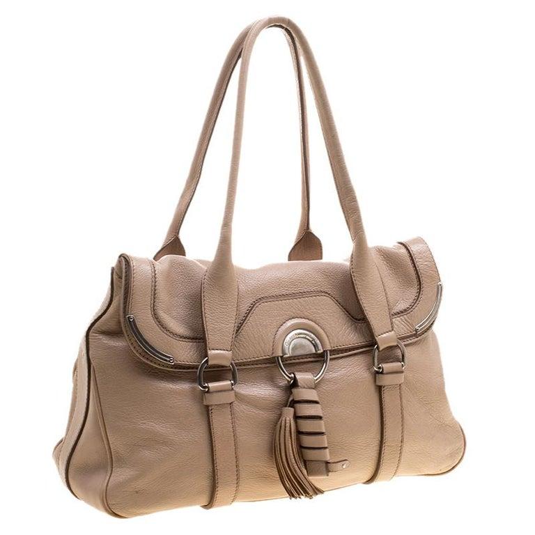 Women's Celine Beige Leather Boston Bag For Sale