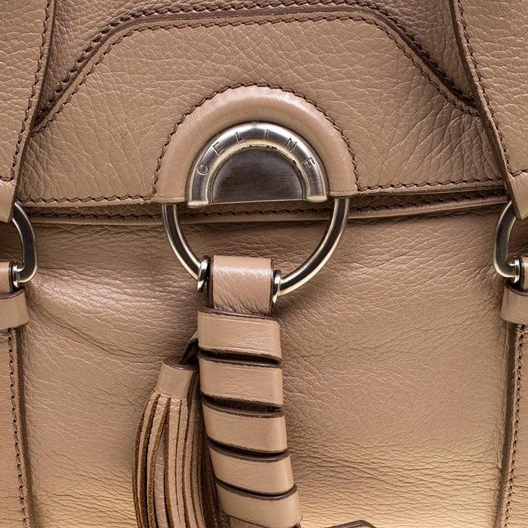 Celine Beige Leather Boston Bag For Sale 2