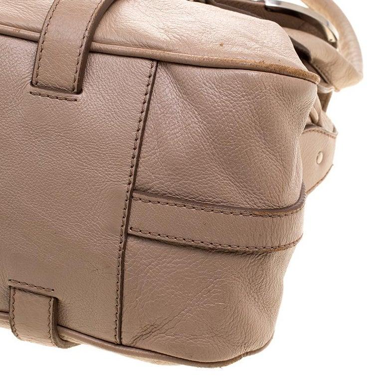 Celine Beige Leather Boston Bag For Sale 3