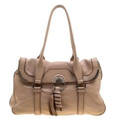 Celine Beige Leather Boston Bag