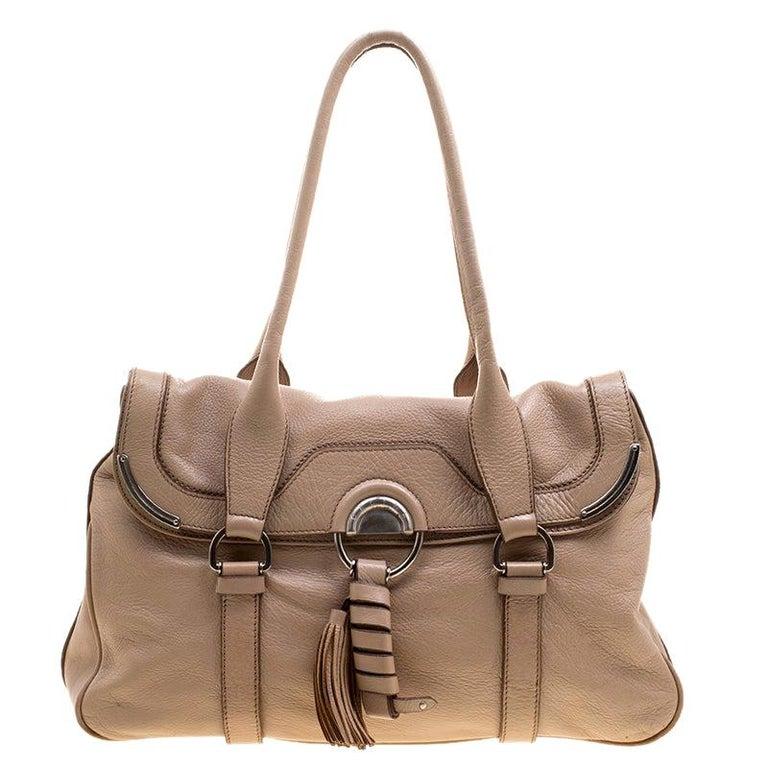 Celine Beige Leather Boston Bag For Sale
