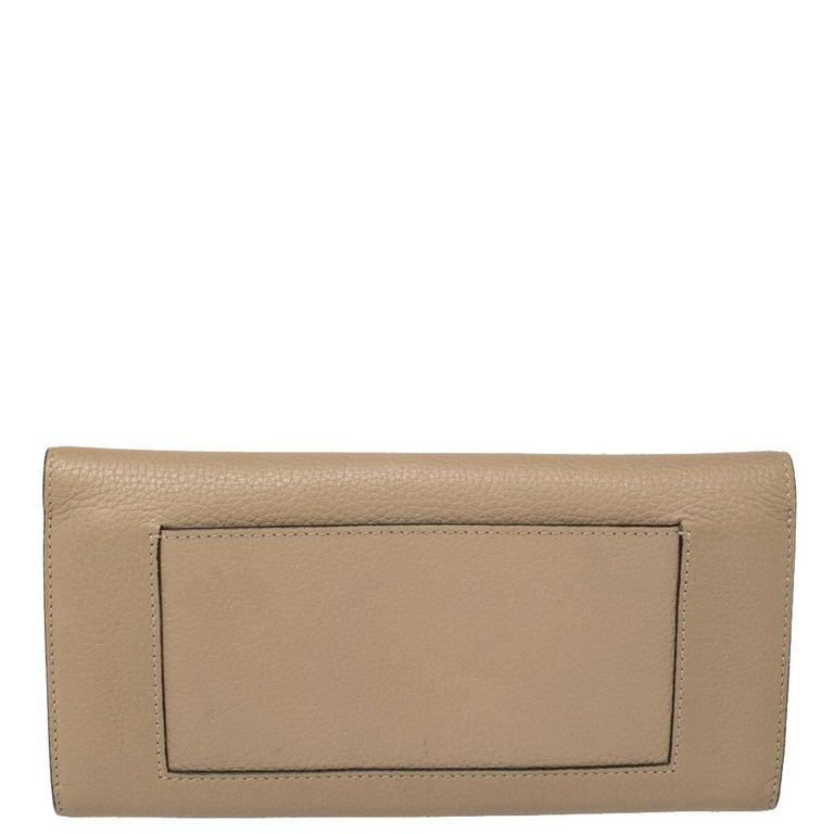 Women's Celine Beige Leather Large Multifunction Flap Wallet For Sale