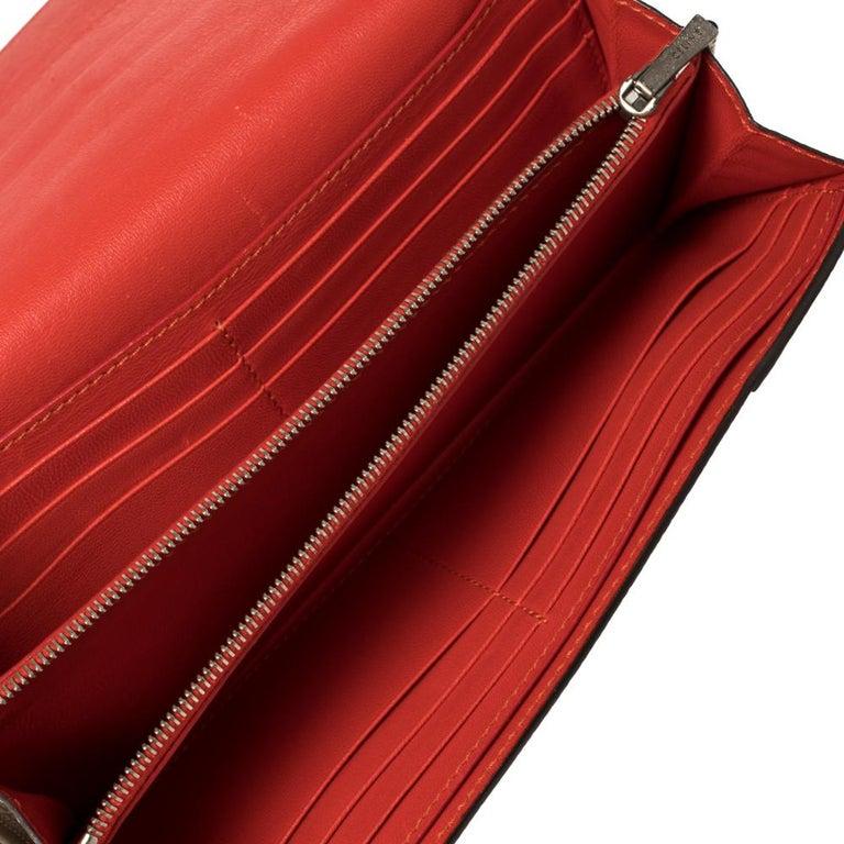 Celine Beige Leather Large Multifunction Flap Wallet For Sale 4