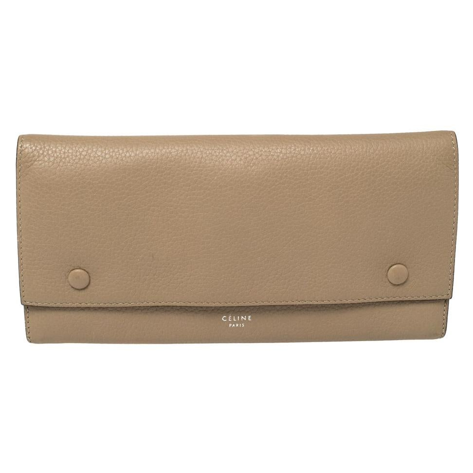 Celine Beige Leather Large Multifunction Flap Wallet
