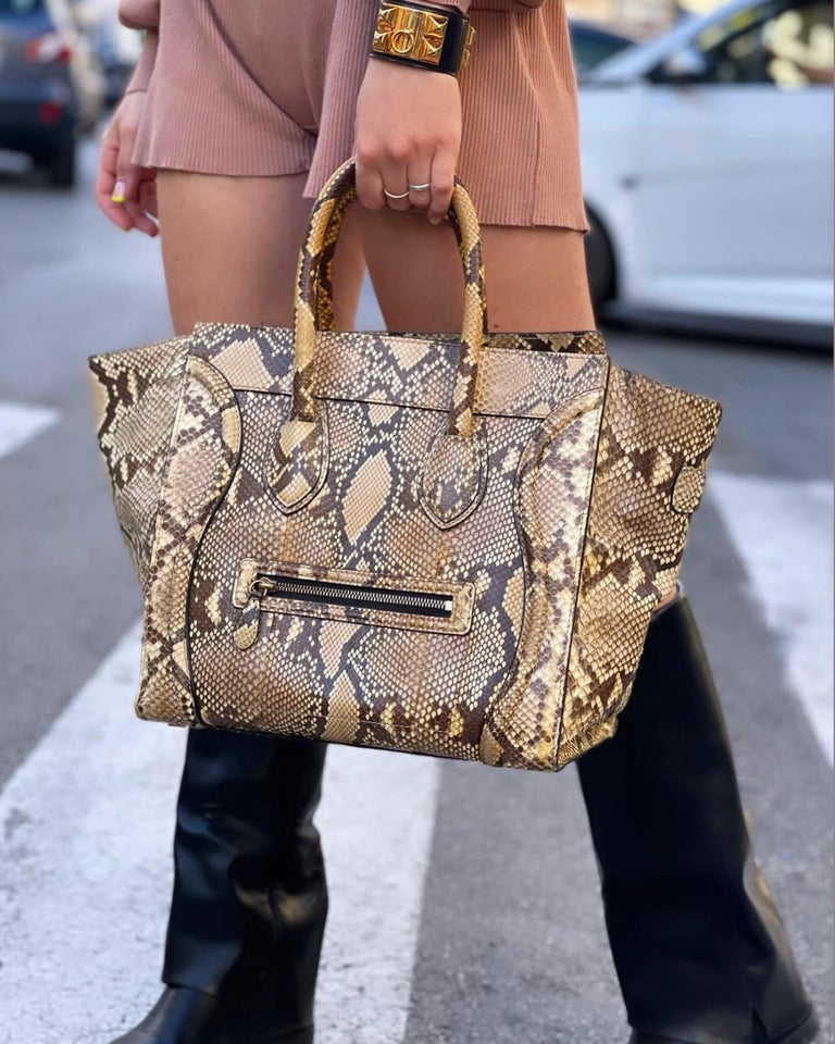 Cèline Luggage model bag in python leather. Equipped with double leather handle. Zip closure, very large inside. The bag is in good condition.