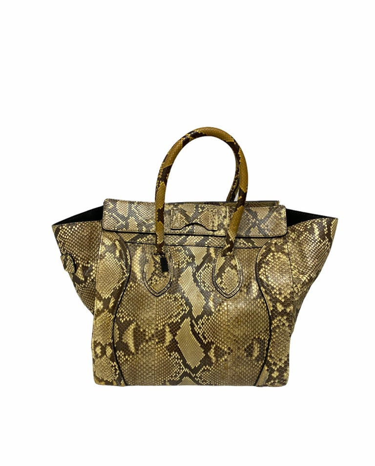 Celine Beige Leather Luggage Bag For Sale 3