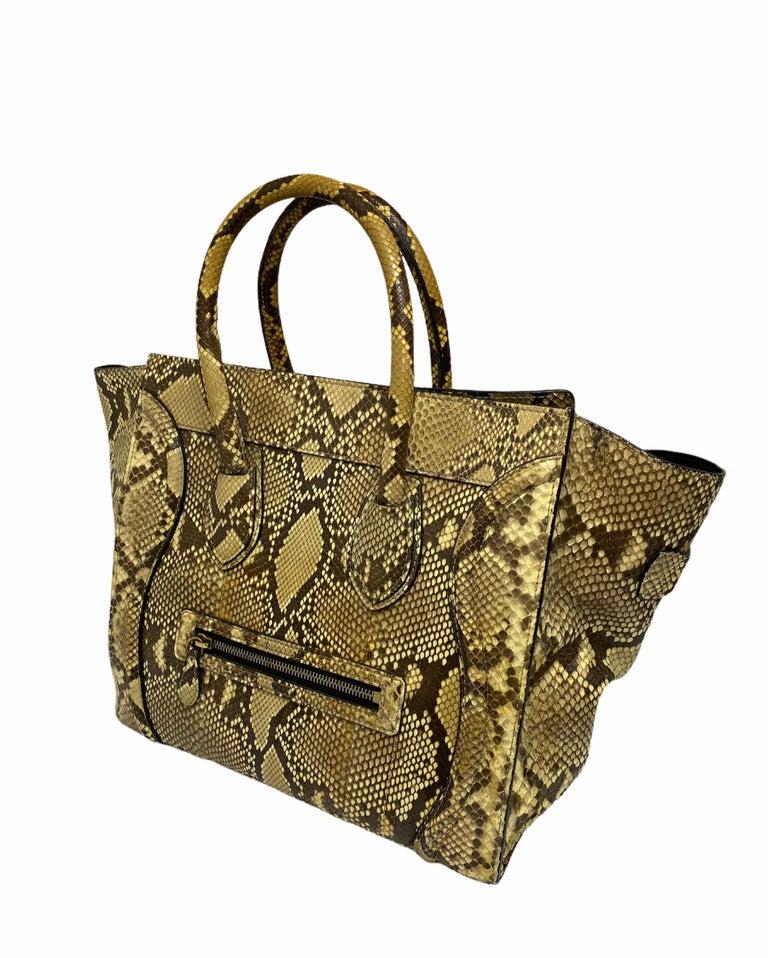 Celine Beige Leather Luggage Bag For Sale 5