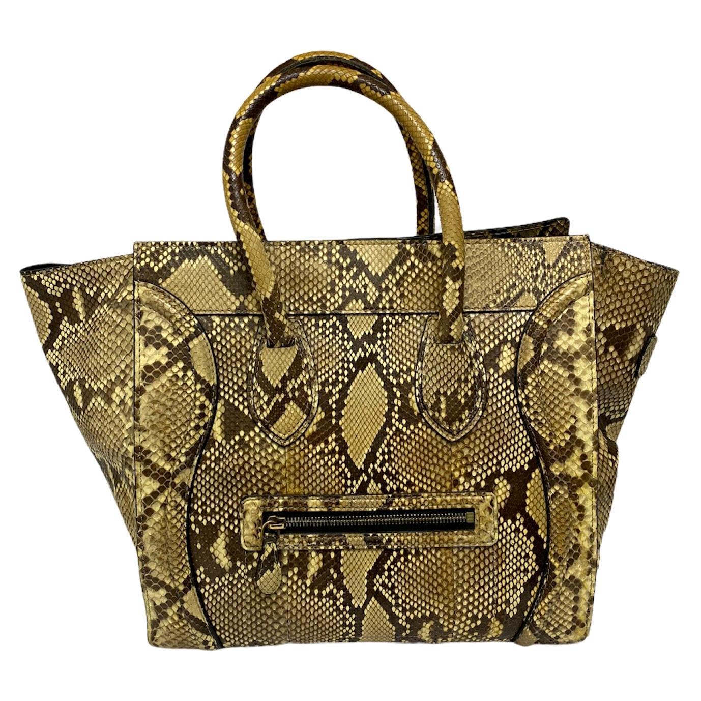 Celine Beige Leather Luggage Bag