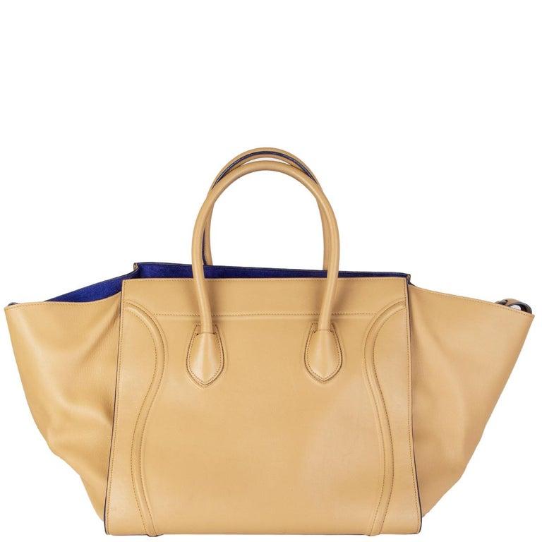 Orange CELINE beige leather PHANTOM LUGGAGE Tote Bag For Sale