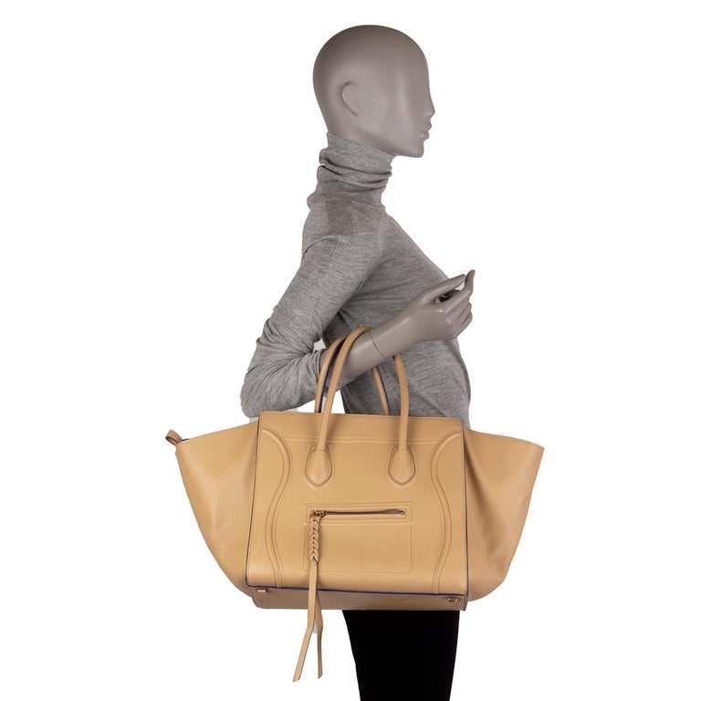 CELINE beige leather PHANTOM LUGGAGE Tote Bag For Sale 3