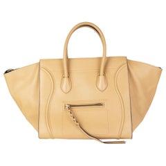 CELINE beige leather PHANTOM LUGGAGE Tote Bag