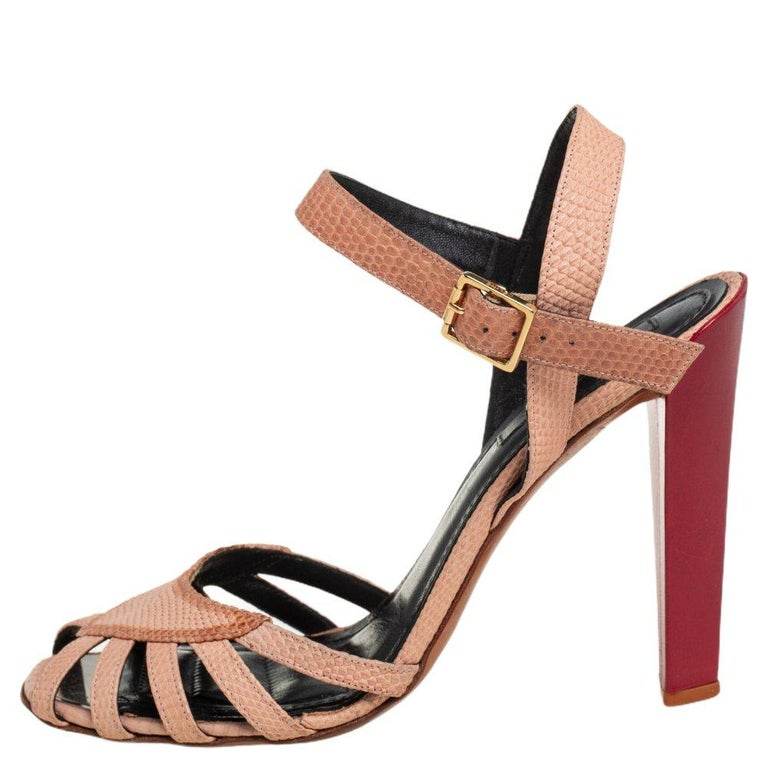 Celine Beige Leather Strappy Sandals Size 39 For Sale 1