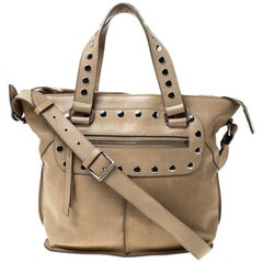 Celine Beige Leather Studded Tote