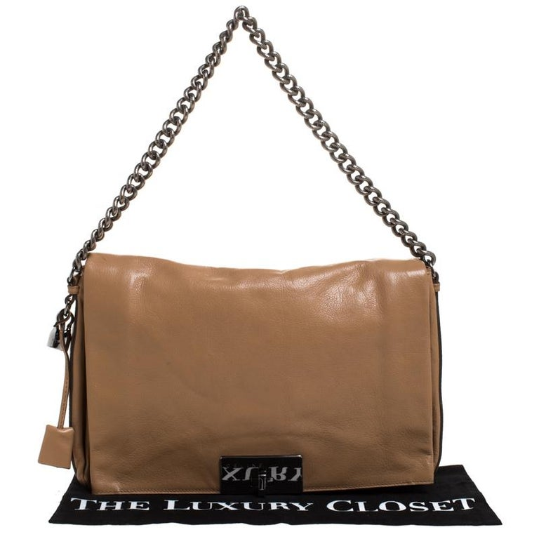 Celine Beige Leather Turnlock Flap Shoulder Bag 9
