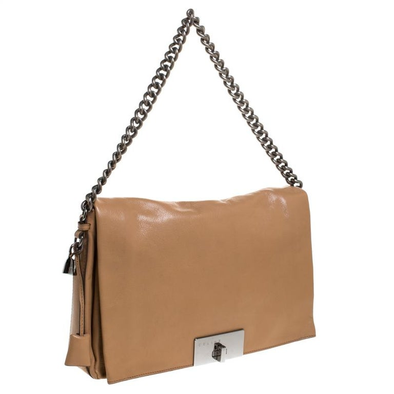 Women's Celine Beige Leather Turnlock Flap Shoulder Bag