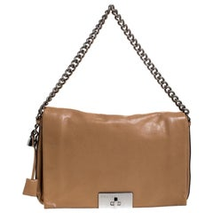 Celine Beige Leather Turnlock Flap Shoulder Bag