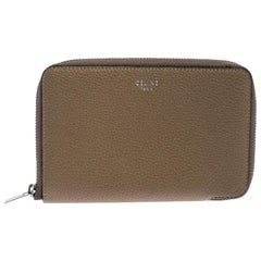 Celine Beige Leather Zip Around Wallet