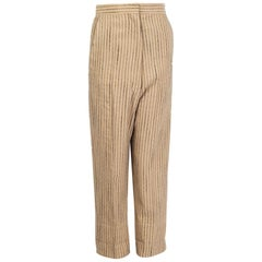 CELINE beige linen BLACK STITCHING STRIPE Straight Leg Pants 34 XXS