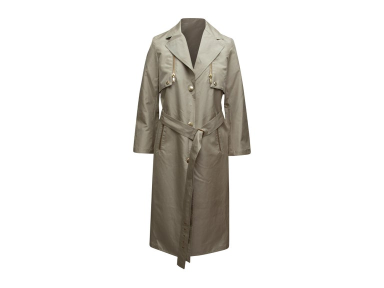 Celine Beige Long Trench Coat In Good Condition For Sale In New York, NY