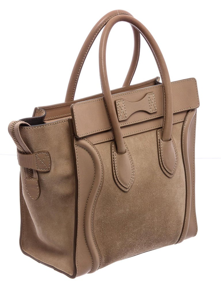 Celine Beige Suede Leather Mini Luggage Tote Bag  In Fair Condition For Sale In Irvine, CA