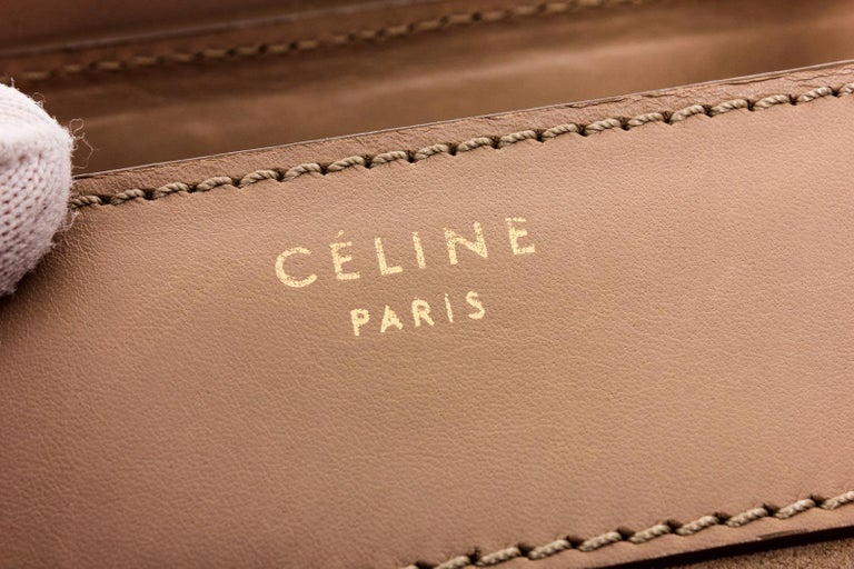 Women's or Men's Celine Beige Suede Leather Mini Luggage Tote Bag  For Sale